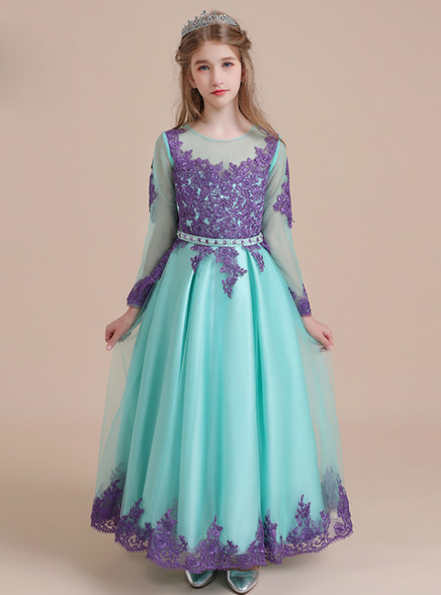 Blue Tulle Purple Appliques Long Sleeve Flower Girl Dress