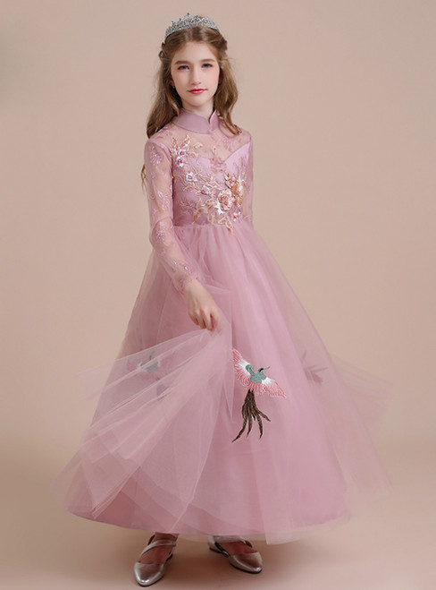 Pink Tulle Appliques High Neck Long Sleeve Flower Girl Dress
