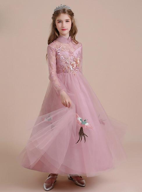 Pink Tulle Appliques High Neck Long Sleeve Flower Girl Dress