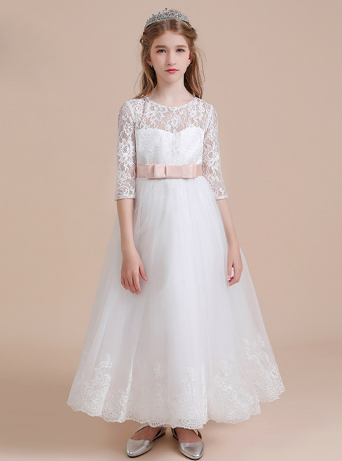 A-Line White Tulle Lace Appliques Half Sleeve Flower Girl Dress