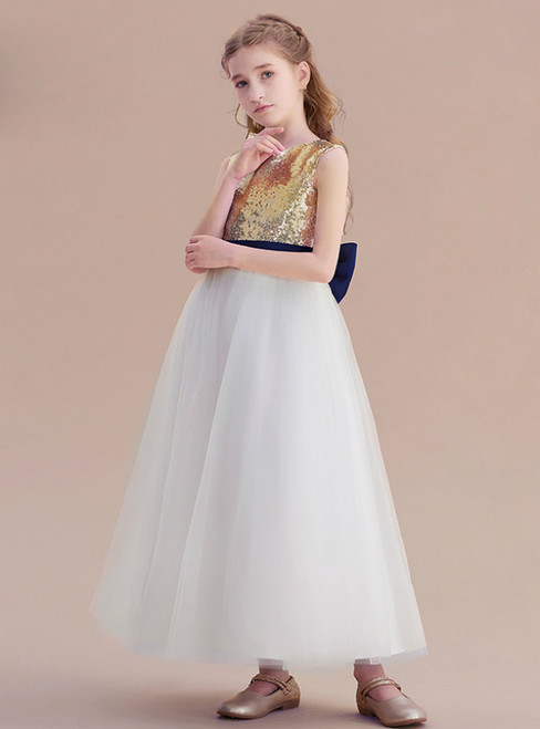 White Tulle Gold Sequins Long Flower Girl Dress With Bow