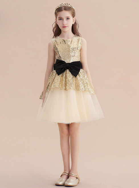 Gold Tulle Sequins Sleeveless Short Flower Girl Dress With Bow