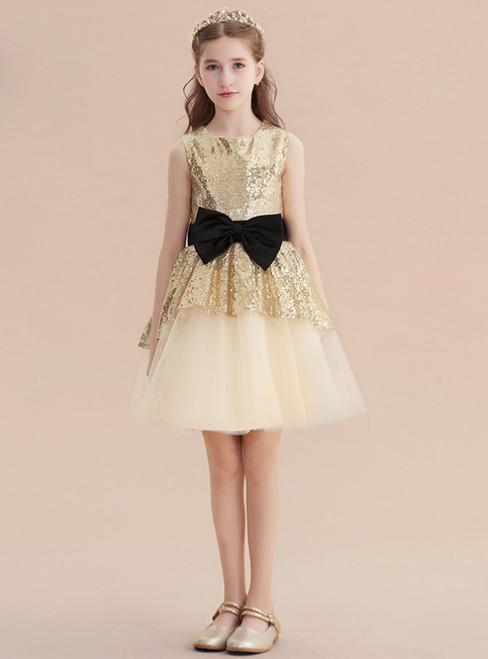 Gold Tulle Sequins Sleeveless Short Flower Girl Dress With Bow