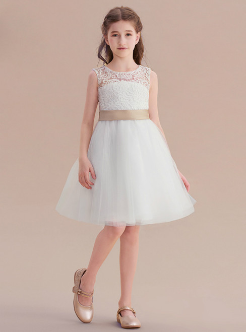 A-Line White Tulle Appliques Backless Flower Girl Dress With Bow