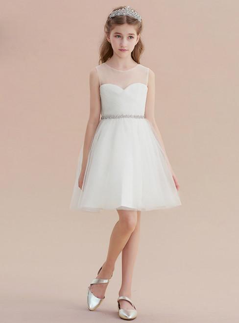White Tulle Pleats Beading Short Flower Girl Dress