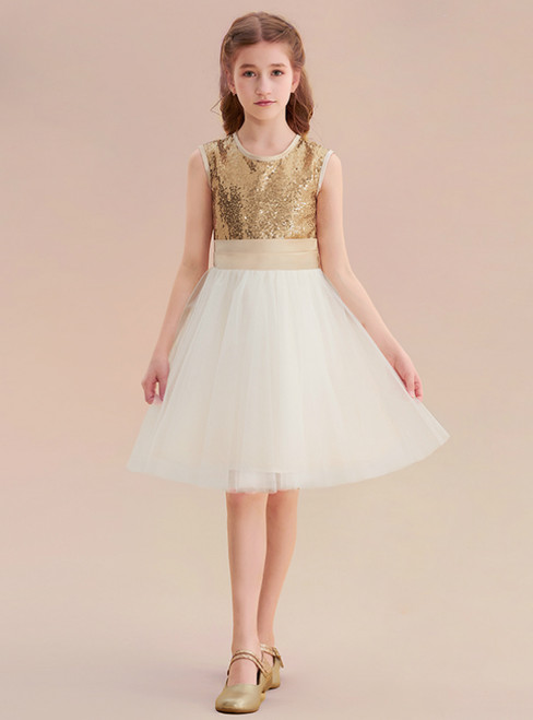 A-Line Gold Sequins White Tulle Flower Girl Dress With Bow
