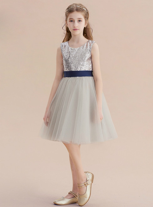A-Line Gray Sequins Tulle Short Flower Girl Dress With Sash