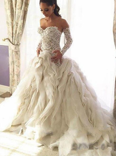 Saudi Arabia Luxury Elegant Puffy Ruffles Mermaid Wedding Dress