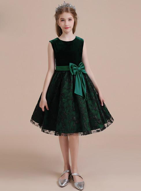 Green Velvet Black Lace Sleeveless Short Flower Girl Dress
