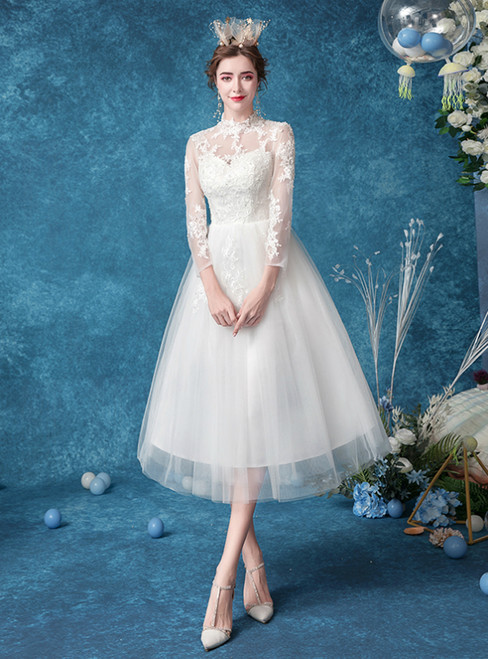In Stock:Ship in 48 Hours  White Tulle Lace Tea Length Wedding Dress