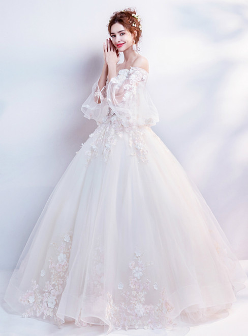 In Stock:Ship in 48 Hours Champagne Ball Gown Tulle Appliques Off the Shoulder Wedding Dress