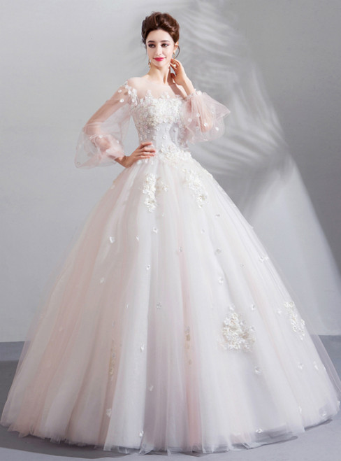 In Stock:Ship in 48 Hours White Ball Gown Tulle Long Sleeve Appliques Wedding Dress