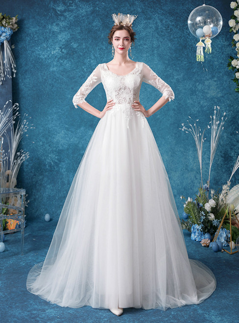 In Stock:Ship in 48 Hours White Tulle V-neck Lace 3/4 Sleeve Wedding Dress