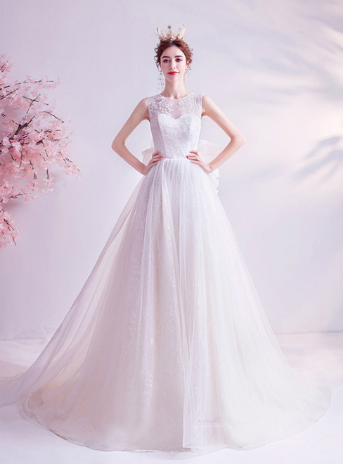 In Stock:Ship in 48 Hours White Tulle Lace Wedding Dress With Long Train