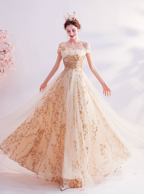 In Stock:Ship in 48 Hours Champagne Tulle Sequins Off the Shoulder Prom Dress