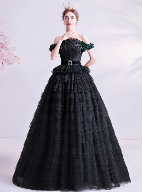 In Stock:Ship in 48 Hours A-Line Black Tulle Off the Shoulder Prom Dress