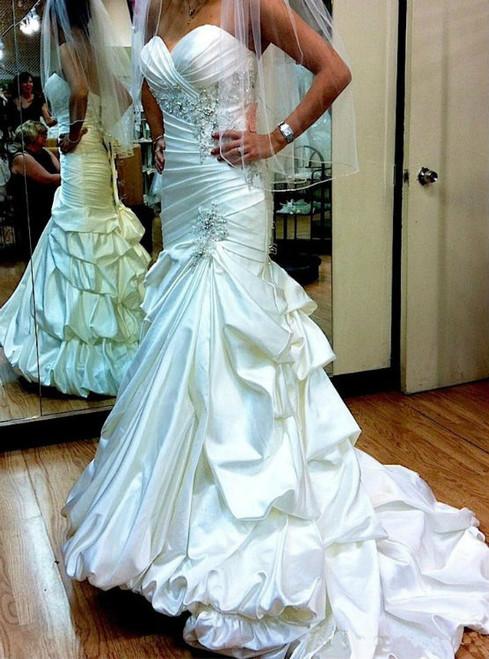 White Mermaid Satin Sweetheart Strapless Backless Wedding Dresses