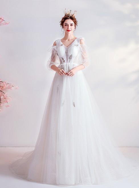 In Stock:Ship in 48 Hours White Tulle V-neck Half Sleeve Wedding Dress