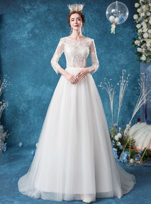 In Stock:Ship in 48 Hours White Tulle Lace Appliques 3/4 Sleeve Wedding Dress
