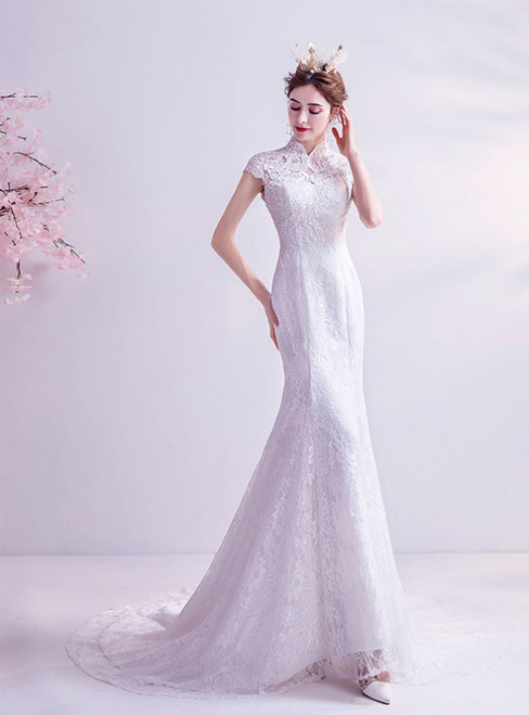 In Stock:Ship in 48 Hours White Lace Mermaid Cap Sleeve Wedding Dress