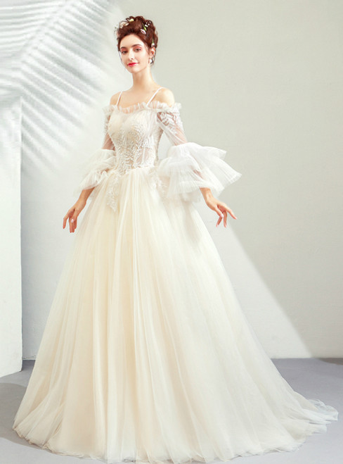 In Stock:Ship in 48 Hours Champagne Tulle Spaghetti Straps Long Sleeve Wedding Dress