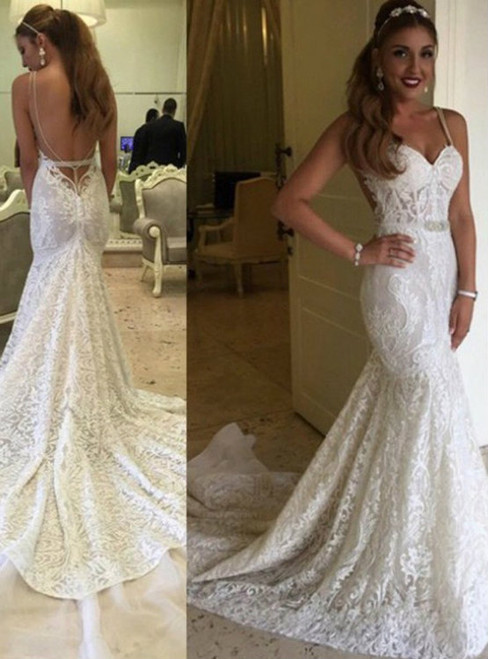 Sexy Mermaid Spaghetti Backless Lace Bridal Gown Wedding Party Dresses