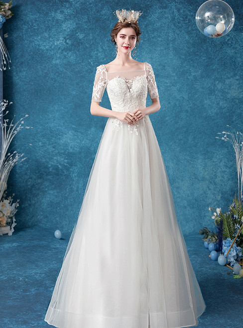 In Stock:Ship in 48 Hours White Tulle Square Short Sleeve Wedding Dress