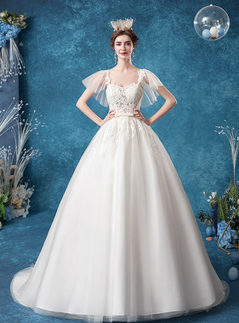 In Stock:Ship in 48 Hours White Tulle Sweetheart Appliques Wedding Dress