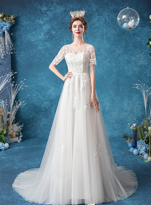 In Stock:Ship in 48 Hours White Tulle Lace Appliques Short Sleeve Wedding Dress