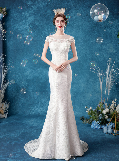 In Stock:Ship in 48 Hours White Mermaid Lace Cap Sleeve Wedding Dress