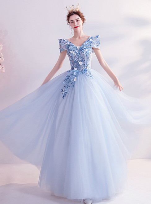 In Stock:Ship in 48 Hours Blue Tulle V-neck 3D Appliques Prom Dress