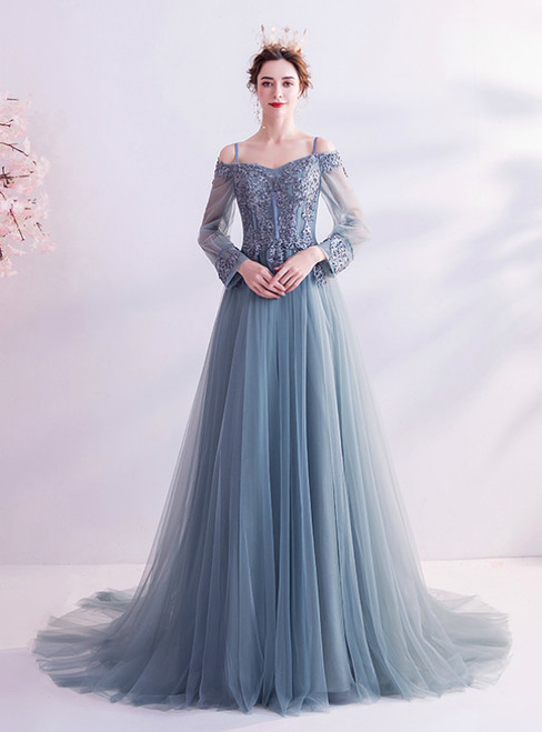 In Stock:Ship in 48 Hours Blue Tulle Appliques Long Sleeve Prom Dress