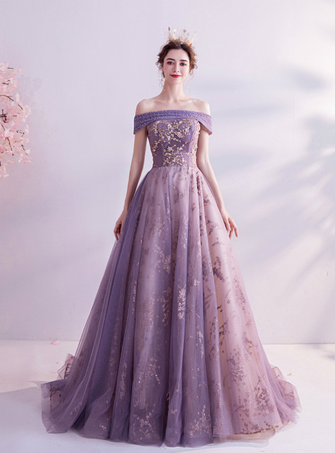 In Stock:Ship in 48 Hours Simple Purple Tulle Sequins Off the Shoulder Prom Dress