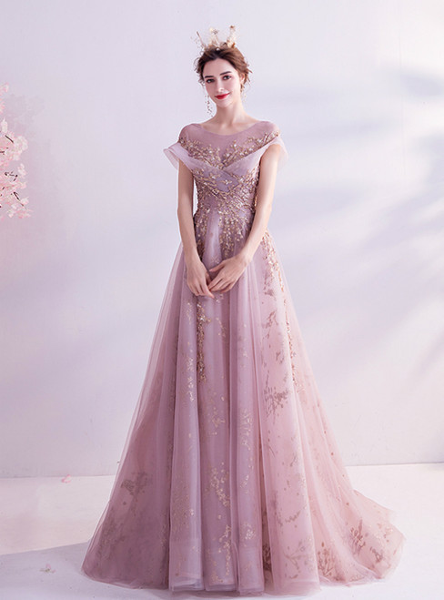 In Stock:Ship in 48 Hours Pink Tulle Sequins Cap Sleeve Prom Dress