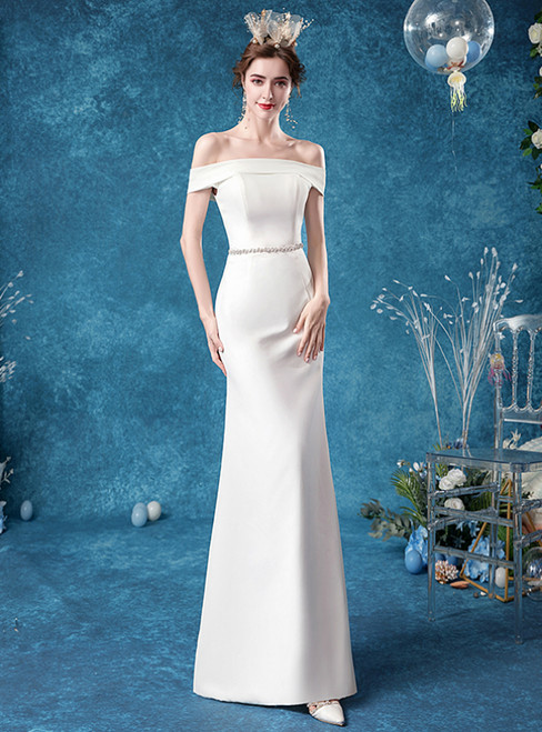In Stock:Ship in 48 Hours White Mermaid Satin Off the Shoulder Wedding Dress