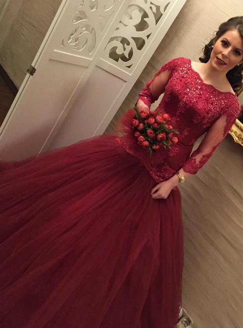 modest 3/4 sleeves wedding dress mermaid wedding gowns burgundy wedding dress