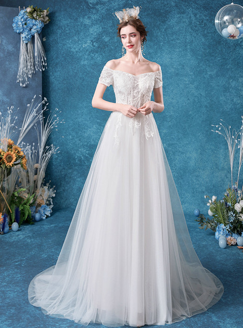 In Stock:Ship in 48 Hours White Tulle Lace Off the Shoulder Wedding Dress