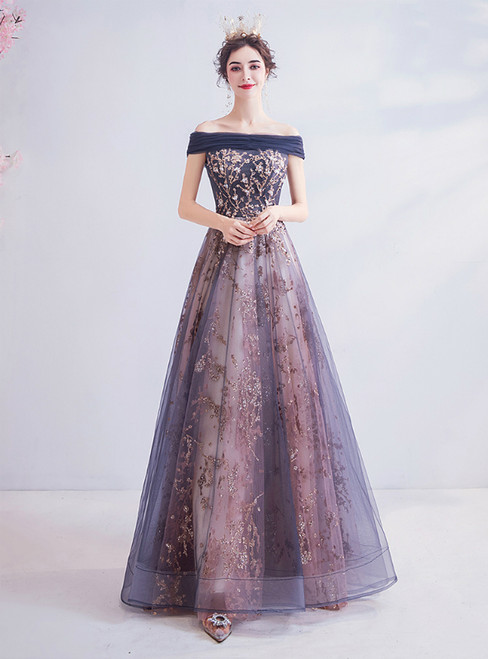 In Stock:Ship in 48 Hours Blue Tulle Off the Shoulder Sequins Prom Dress