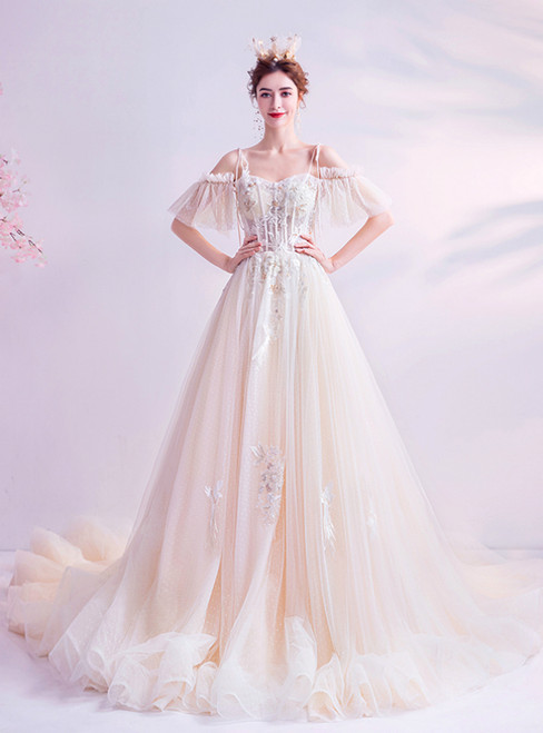 In Stock:Ship in 48 Hours Champagne Tulle Spagehtti Straps Wedding Dress