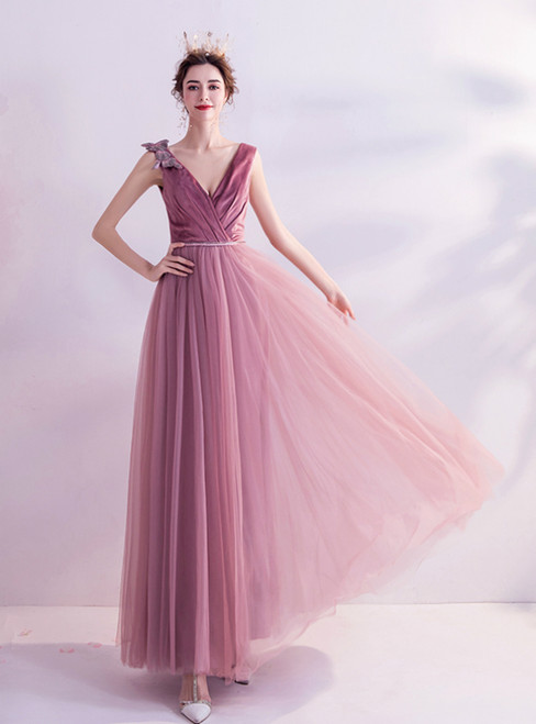 In Stock:Ship in 48 Hours Pink V-neck Tulle Pleats Prom Dress