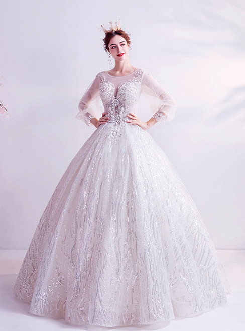 In Stock:Ship in 48 Hours White Tulle Sequins Long Sleeve Wedding Dress