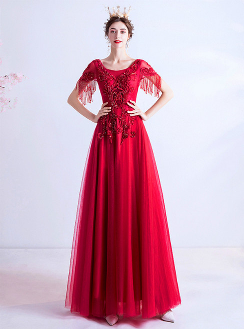 In Stock:Ship in 48 Hours Red Tulle Beading Cap Sleeve Prom Dress
