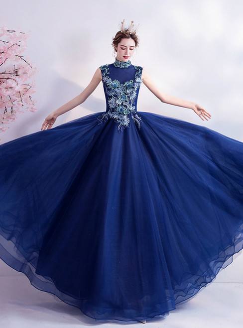 In Stock:Ship in 48 Hours Blue Tulle High Neck Appliques Prom Dress