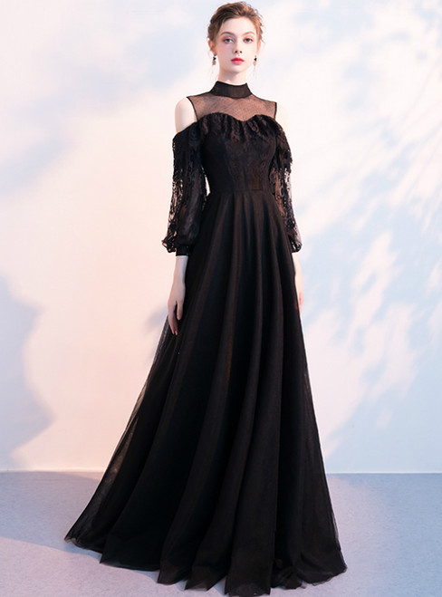 In Stock:Ship in 48 Hours Black Tulle Lace Long Sleeve Prom Dress