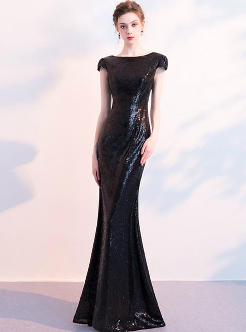 In Stock:Ship in 48 Hours Black Mermaid Sequins Cap Sleeve Prom Dress