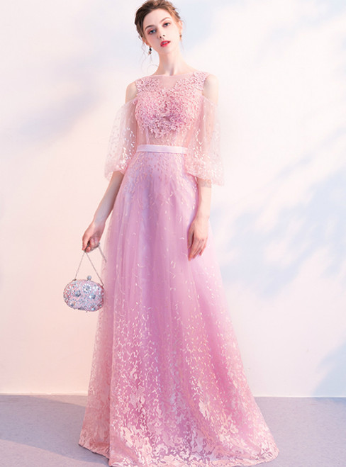 In Stock:Ship in 48 Hours Pink Tulle Lace Half Sleeve Prom Dress