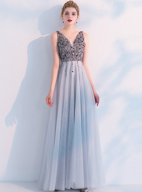 In Stock:Ship in 48 Hours A-Line Gray Tulle V-neck Sequins Prom Dress