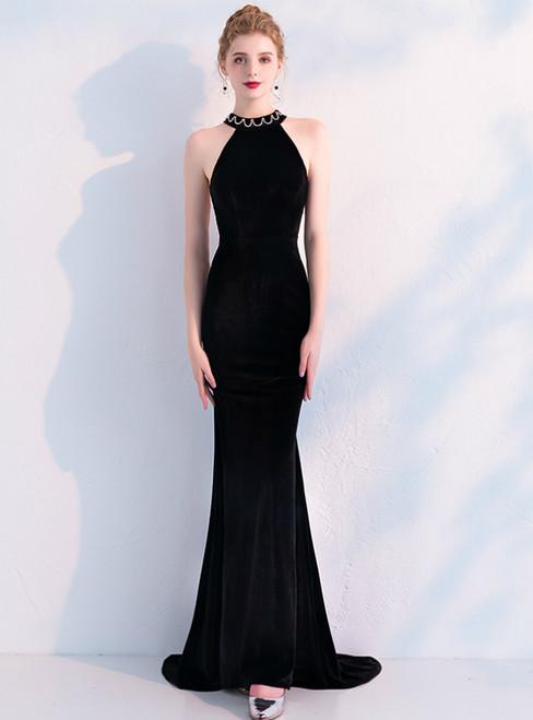 In Stock:Ship in 48 Hours Black Mermaid Velvet Beading Prom Dress