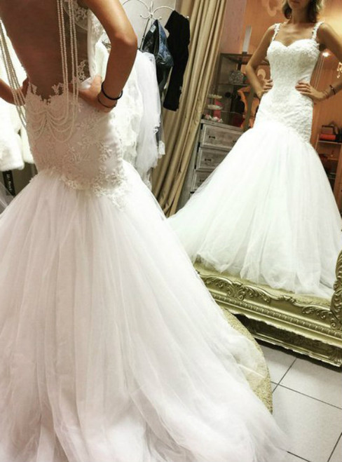 Mermaid 2017 Tulle Wedding Dresses Sweetheart Lace Pearls Bridal Gowns Wedding Gowns