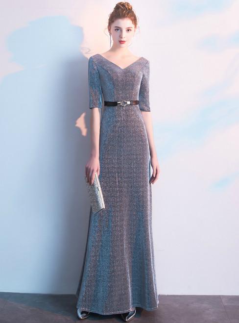 In Stock:Ship in 48 Hours Silver V-neck Short Sleeve Prom Dress